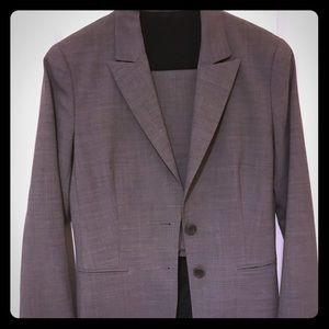 Theory 2pc light gray skirt suit
